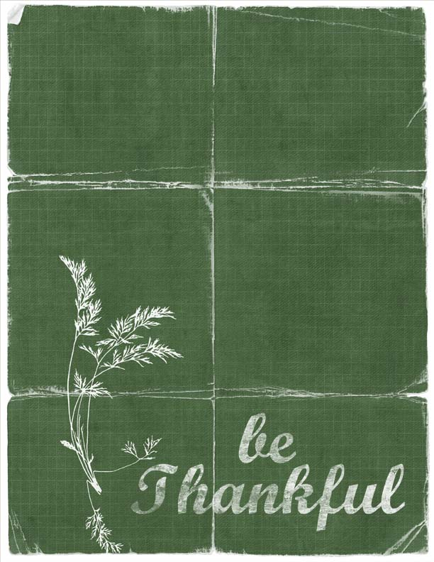 Be thankful green tattered copy